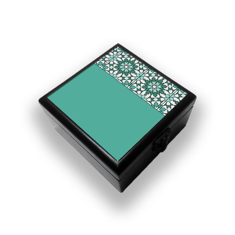 Moroccan Tile Pattern In Green Jewellery Box