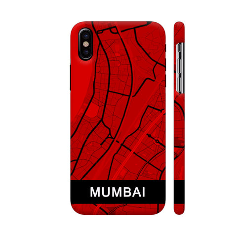 Mumbai Map In Red iPhone X Cover | Artist: Kiran Maurya