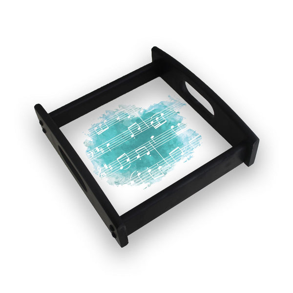 Musical Notes On Blue Square Wooden Serving Tray (Ebony)