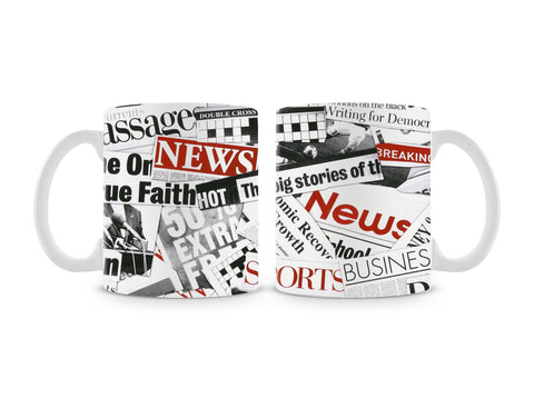 Newspaper Cutting Mug (Set of 2)