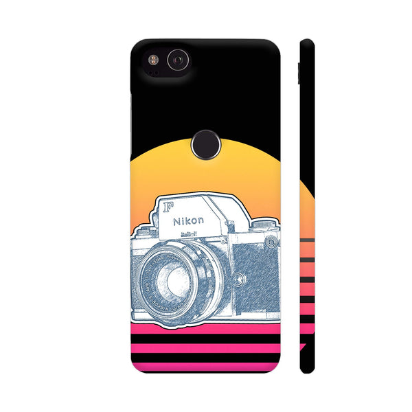 Nikon F Synth Neon Google Pixel 3 Cover | Artist: 3ZDesigns