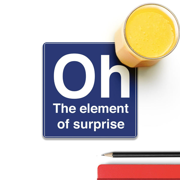 Oh The Element Of Surprise Wooden Square Coaster (Set of 4) | Artist: Abhinav