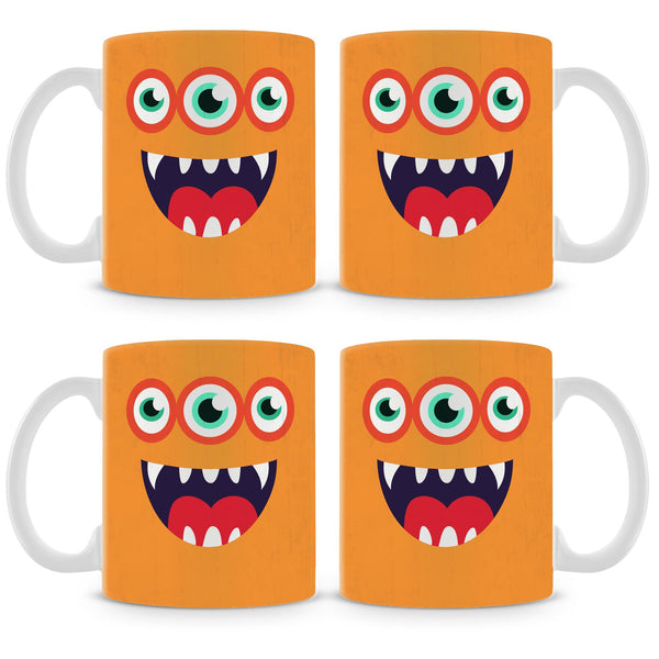 Orange Monster Mug (Set of 4)