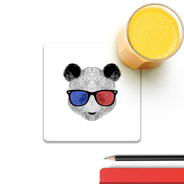Panda 3D Wooden Square Coaster (Set of 4) | Artist: Abhinav