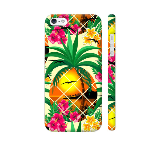 Pineapple Tropical Sunset And Flowers iPhone SE Cover | Artist: BluedarkArt