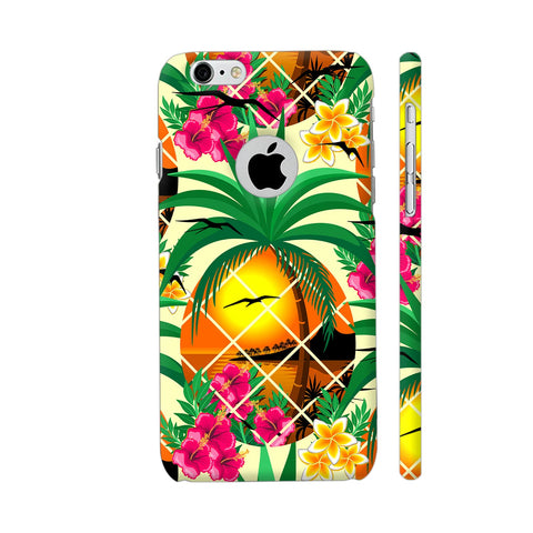 Pineapple Tropical Sunset And Flowers iPhone 6 / 6s Logo Cut Cover | Artist: BluedarkArt