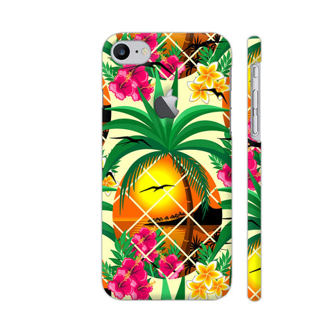 Pineapple Tropical Sunset And Flowers iPhone 7 Logo Cut Cover | Artist: BluedarkArt