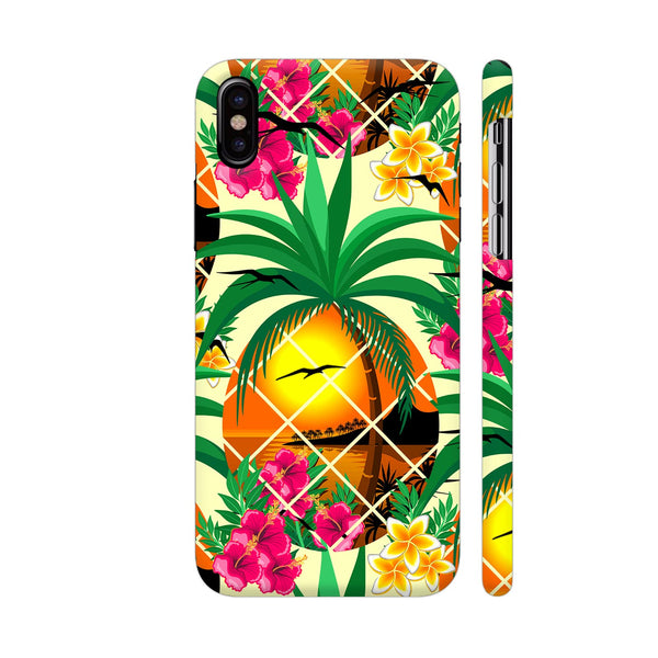 Pineapple Tropical Sunset And Flowers iPhone X Cover | Artist: BluedarkArt