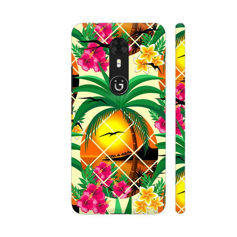 Pineapple Tropical Sunset And Flowers Gionee A1 Cover | Artist: BluedarkArt
