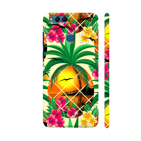 Pineapple Tropical Sunset And Flowers Honor 7X Cover | Artist: BluedarkArt