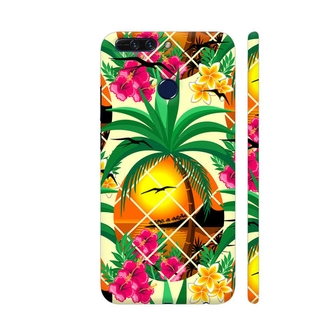 Pineapple Tropical Sunset And Flowers Honor 8 Pro Cover | Artist: BluedarkArt