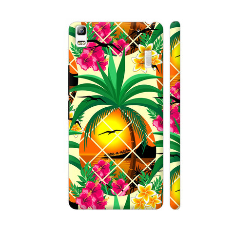 Pineapple Tropical Sunset And Flowers Lenovo A7000 Cover | Artist: BluedarkArt