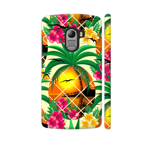 Pineapple Tropical Sunset And Flowers Lenovo K4 Note Cover | Artist: BluedarkArt