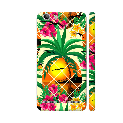 Pineapple Tropical Sunset And Flowers Lenovo Vibe K5 / K5 Plus Cover | Artist: BluedarkArt