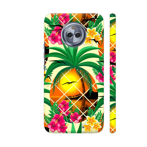 Pineapple Tropical Sunset And Flowers Moto X4 Cover | Artist: BluedarkArt