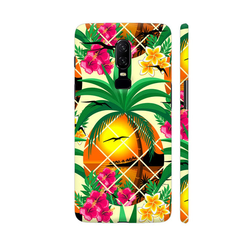 Pineapple Tropical Sunset And Flowers OnePlus 6 Cover | Artist: BluedarkArt