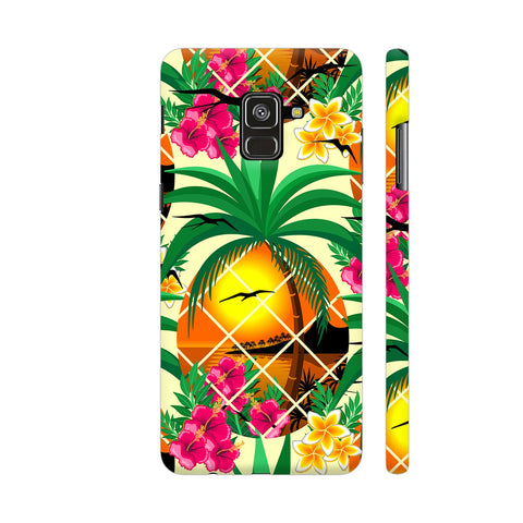 Pineapple Tropical Sunset And Flowers Samsung A8 Cover | Artist: BluedarkArt