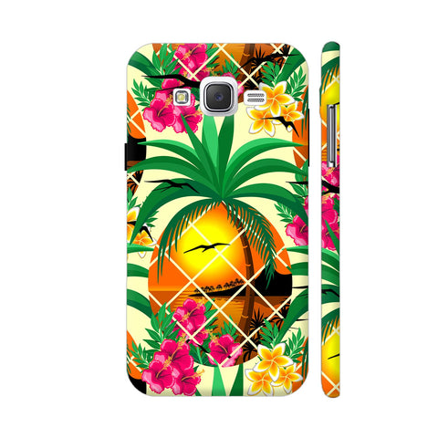 Pineapple Tropical Sunset And Flowers Samsung J2 (Old) Cover | Artist: BluedarkArt