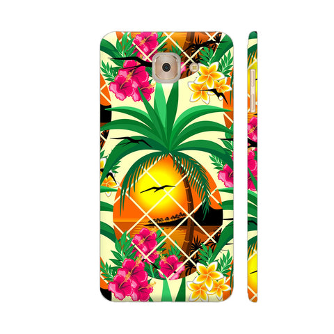 Pineapple Tropical Sunset And Flowers Samsung J7 Max Cover | Artist: BluedarkArt