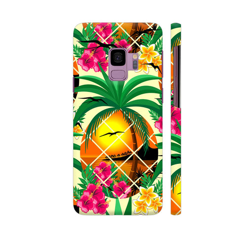 Pineapple Tropical Sunset And Flowers Samsung S9 Cover | Artist: BluedarkArt