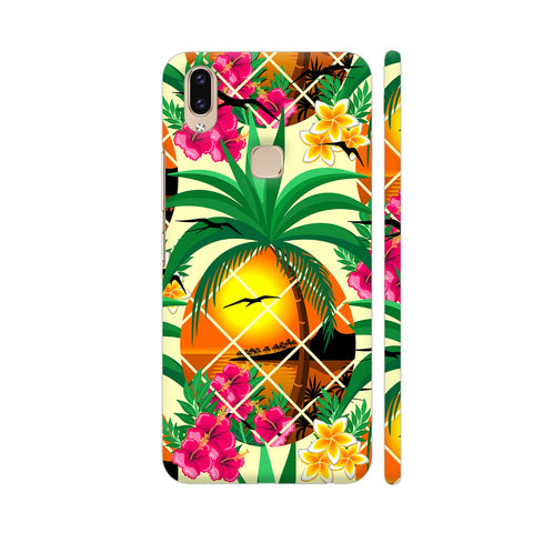 Pineapple Tropical Sunset And Flowers Vivo V9 Cover | Artist: BluedarkArt