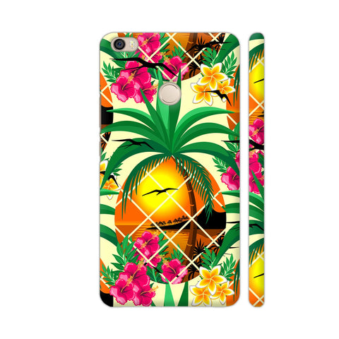 Pineapple Tropical Sunset And Flowers Xiaomi Mi Max Cover | Artist: BluedarkArt
