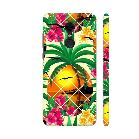 Pineapple Tropical Sunset And Flowers Redmi Note 5 Cover | Artist: BluedarkArt