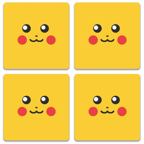 Pokemon Go Pikachu On Yellow Coaster (Set of 4)