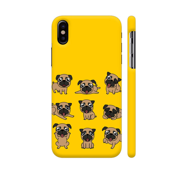 Pug Faces On Yellow iPhone XS Cover | Artist: Manju NK