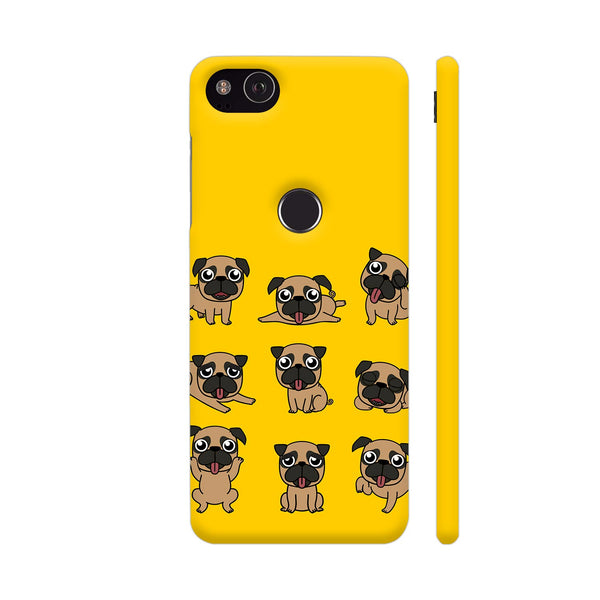 Pug Faces On Yellow Google Pixel 3 XL Cover | Artist: Manju NK
