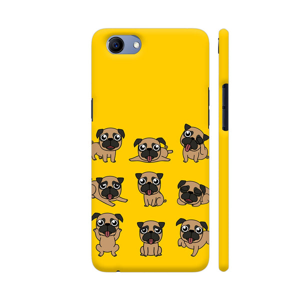 Pug Faces On Yellow Realme 1 Cover | Artist: Manju NK