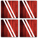 Red Wood Coaster (Set of 4)
