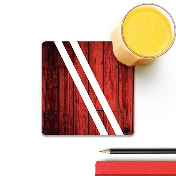 Red Wood Wooden Square Coaster (Set of 4) | Artist: Abhinav