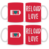 Reload Love On Red Mug (Set of 4)