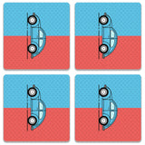 Retro Beetle Material Red Blue Coaster (Set of 4)