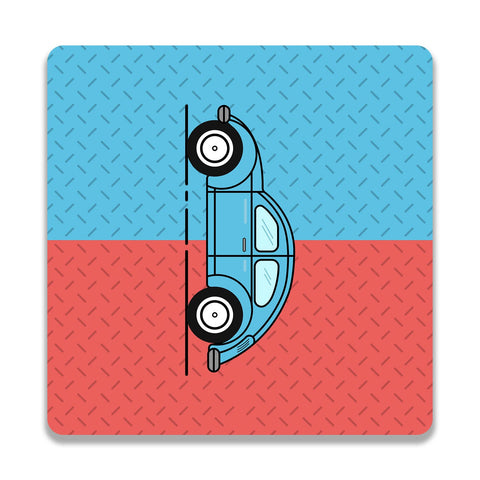 Retro Beetle Material Red Blue Wooden Square Coaster | Artist: Abhinav
