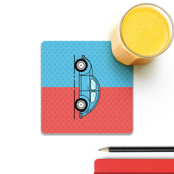 Retro Beetle Material Red Blue Wooden Square Coaster (Set of 4) | Artist: Abhinav