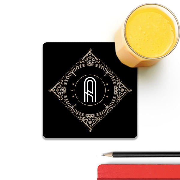 Retro Black Letter A Wooden Square Coaster (Set of 4) | Artist: Abhinav