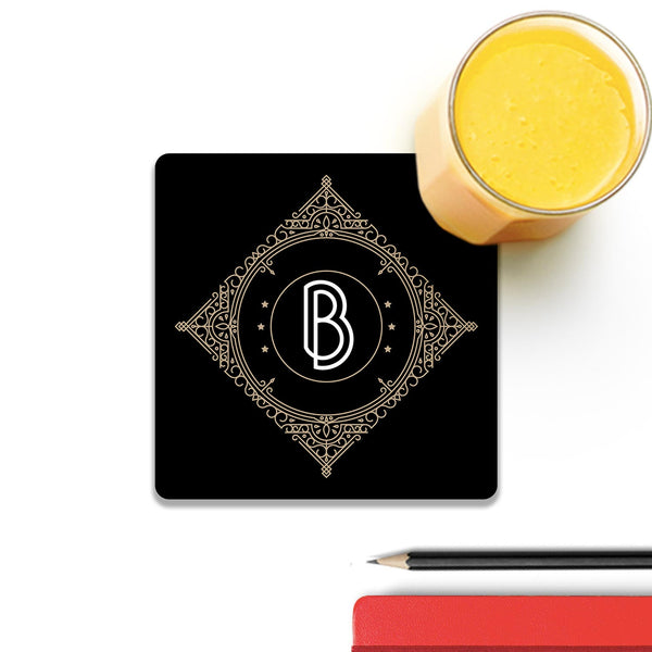 Retro Black Letter B Wooden Square Coaster (Set of 4) | Artist: Abhinav