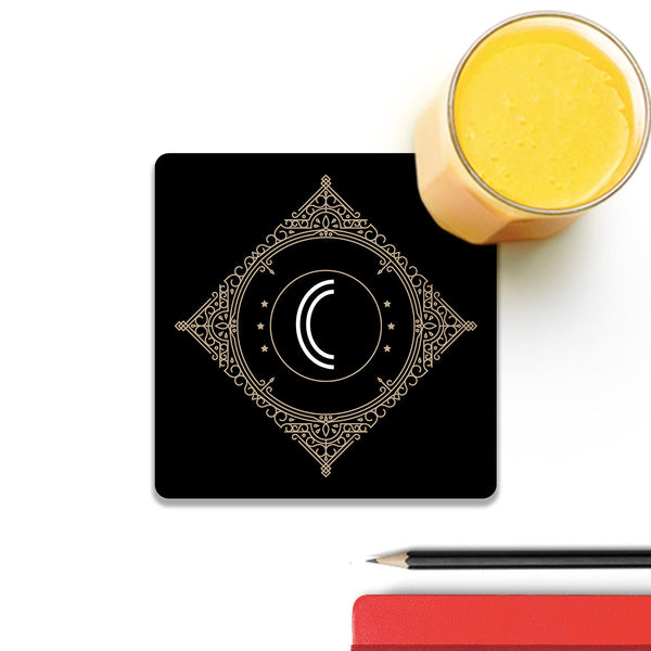 Retro Black Letter C Wooden Square Coaster (Set of 2) | Artist: Abhinav