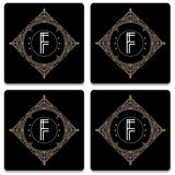 Retro Black Letter F Coaster (Set of 4)
