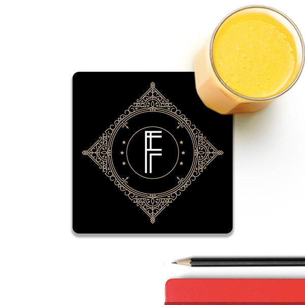 Retro Black Letter F Wooden Square Coaster (Set of 4) | Artist: Abhinav