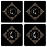 Retro Black Letter G Wooden Square Coaster (Set of 2) | Artist: Abhinav