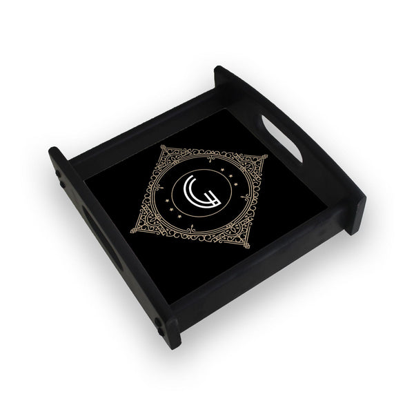Retro Black Letter G Square Wooden Serving Tray (Ebony)