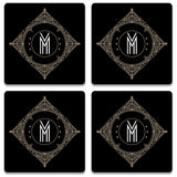 Retro Black Letter M Wooden Square Coaster (Set of 2) | Artist: Abhinav