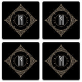 Retro Black Letter N Coaster (Set of 4)