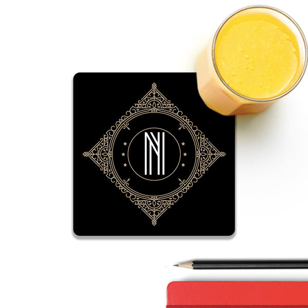 Retro Black Letter N Wooden Square Coaster (Set of 4) | Artist: Abhinav