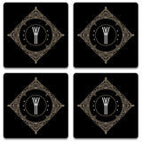Retro Black Letter Y Wooden Square Coaster (Set of 2) | Artist: Abhinav