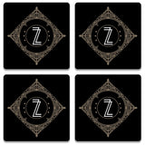 Retro Black Letter Z Wooden Square Coaster (Set of 2) | Artist: Abhinav