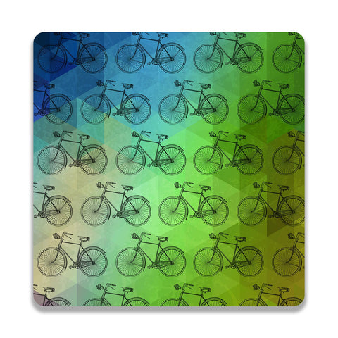 Retro Cycle Wooden Square Coaster | Artist: Abhinav